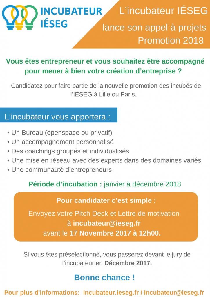 Appel à projets incubateur 2018